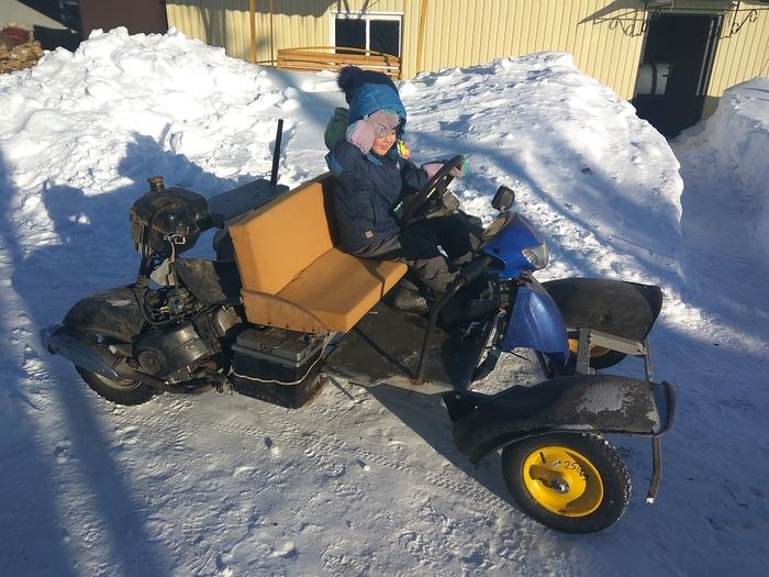 Самодельная машинка моего сына Бензопила, Скутер, Самодельная детская машинка, Видео, Длиннопост, Дети, Багги, Картинг