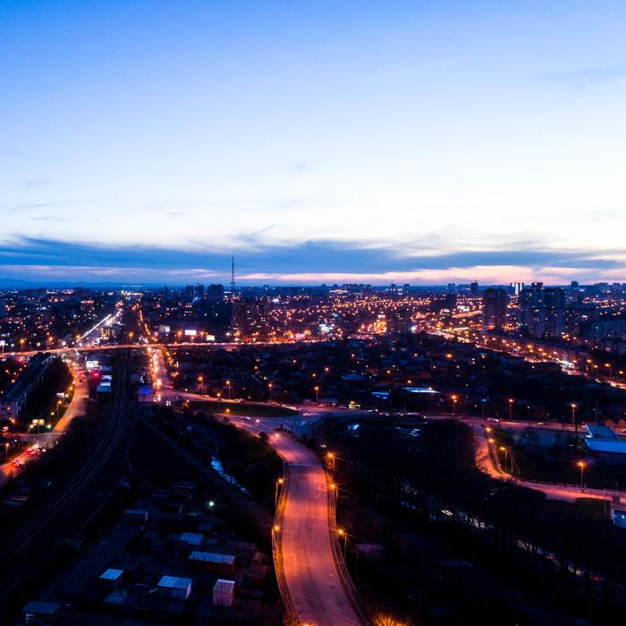 Фото с разницей в 10 секунд, просто в 2 направления. Город, Сумерки, День, Ночь, Краснодар, Свет, Тьма, Фотография