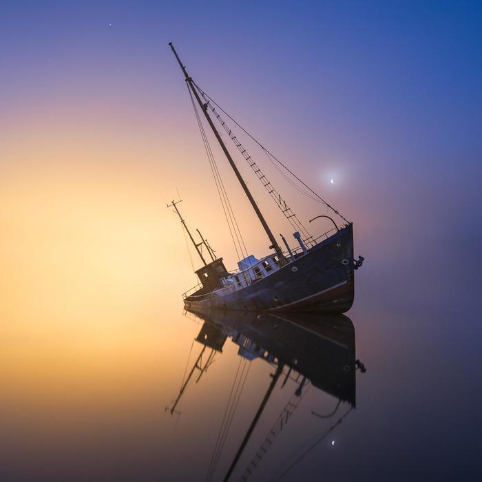Летучий финляндец Корабль, Кораблекрушение, Финляндия, Море, Фотография, Горизонт