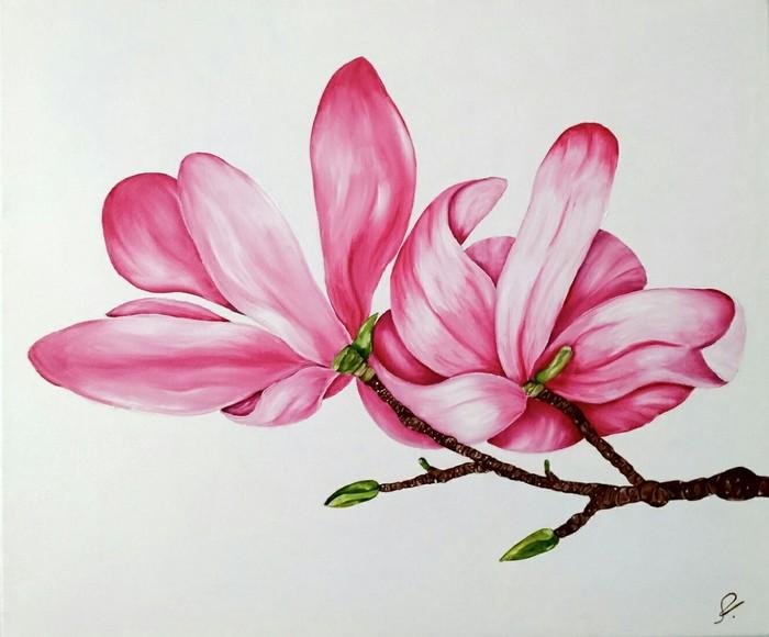 Один из первых опытов написания картины картина маслом, картина цветы, цветы, магнолия, масляные краски, Живопись, интерьерная живопись, минимализм, длиннопост