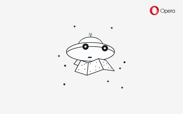 Опера и 12 апреля Космос, Интернет, Браузер, Опера, Gif анимация, НЛО, Летающая тарелка, Гифка