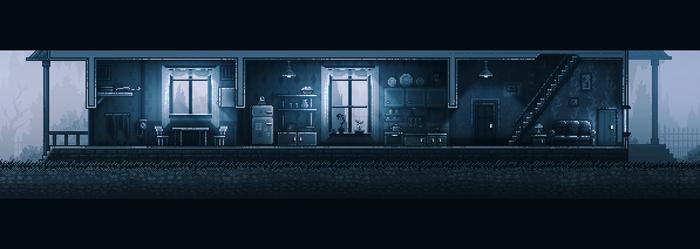Домик с освещением и без Inmost, Pixel art, Gamedev