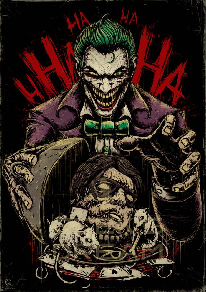 Джокер Джокер, Dc comics, Длиннопост, Суперзлодеи, Рисунок, Цифровой рисунок