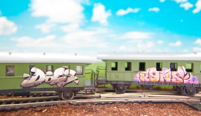Катится катится Портил игрушки лично, Граффити, Вагон, Поезд, Игрушки, Умирал, От безделья