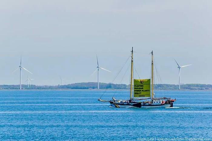 Гринпис атаковал плавучую аэс Росатом, Балтийское море, Длиннопост, Гринпис