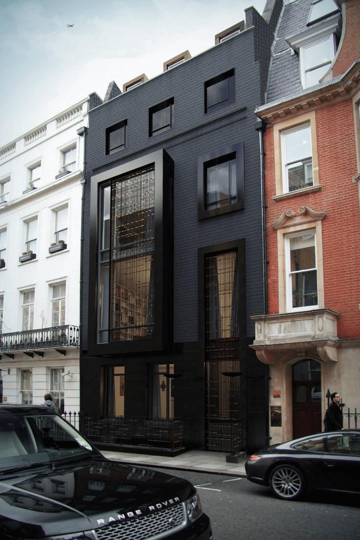 Полностью чёрный фасад