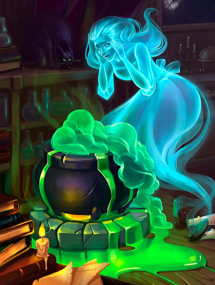 Witch's bad day Иллюстрации, Ведьмы, Привидение, Зелье, Колдовство, Котел, Рисунок, Цифровой рисунок