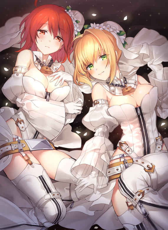 Невесты Аниме, Anime Art, Fate, Fate Grand Order, Fujimaru ritsuka, Female protagonist, Saber Bride, Nero Claudius