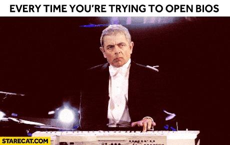 Каждый раз когда пытаешься открыть BIOS