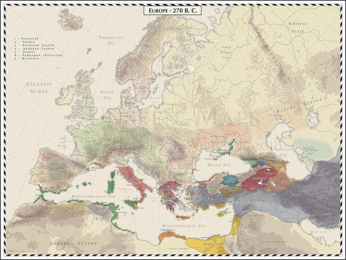 Карта Европы 270 год до н.э. Карты, Европа