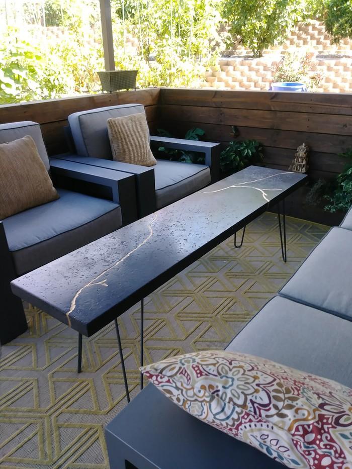 Бетонный столик с золотой жилой, или чем заняться женщине, когда муж в командировке. длиннопост, Своими руками, стол, мебель, бетон