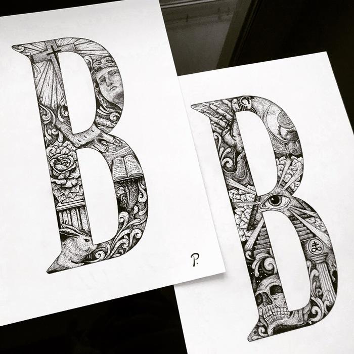 To be Dotwork, Пуантилизм, Рисунок ручкой, Графика, Арт, Творчество, Рисунок, Буквы