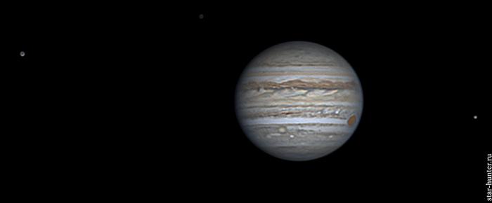 Юпитер со спутниками, 2 июля 2018 года, 20:37 Юпитер, планета, астрофото, астрономия, космос, StarHunter, АнапаДвор, гифка