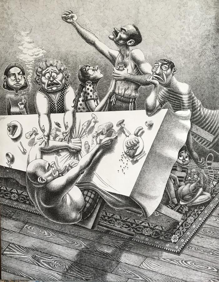 «Безымянное застолье» Застолье, Рисунок, Рапидограф, Пьянка, Тост, Ковер, Задроты, Длиннопост