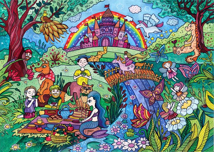 Сказочные существа. Иллюстрации, Сказка, Волшебство, Сказочные существа, Диана зименс, Пикник, Акварель, Рисунок