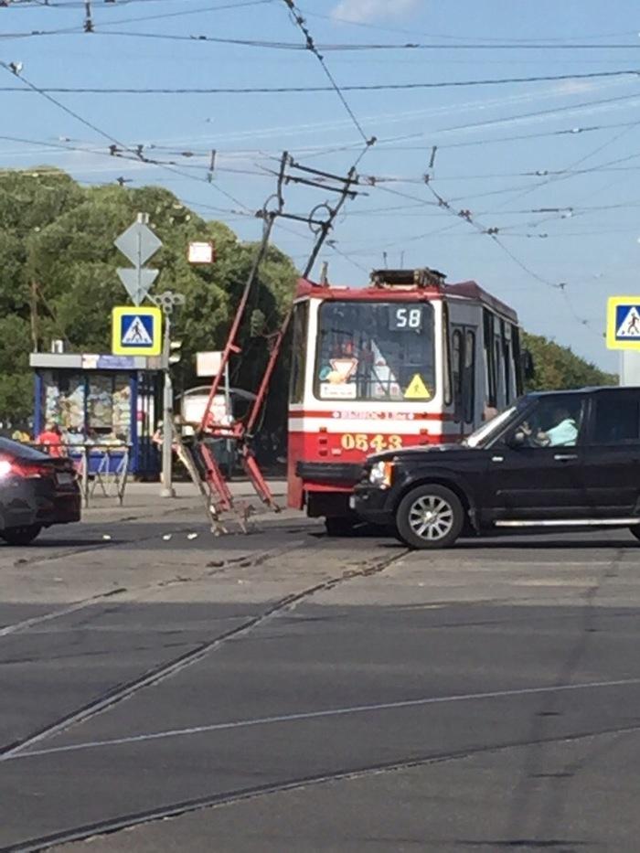 Трамвай сбросил рога Санкт-Петербург, Трамвай, Происшествие, Пантограф, Гифка, Длиннопост