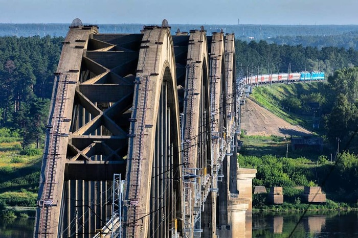 Самый впечатляющий мост над Окой Нижний Новгород, Мост, Поезд, Ока, Река