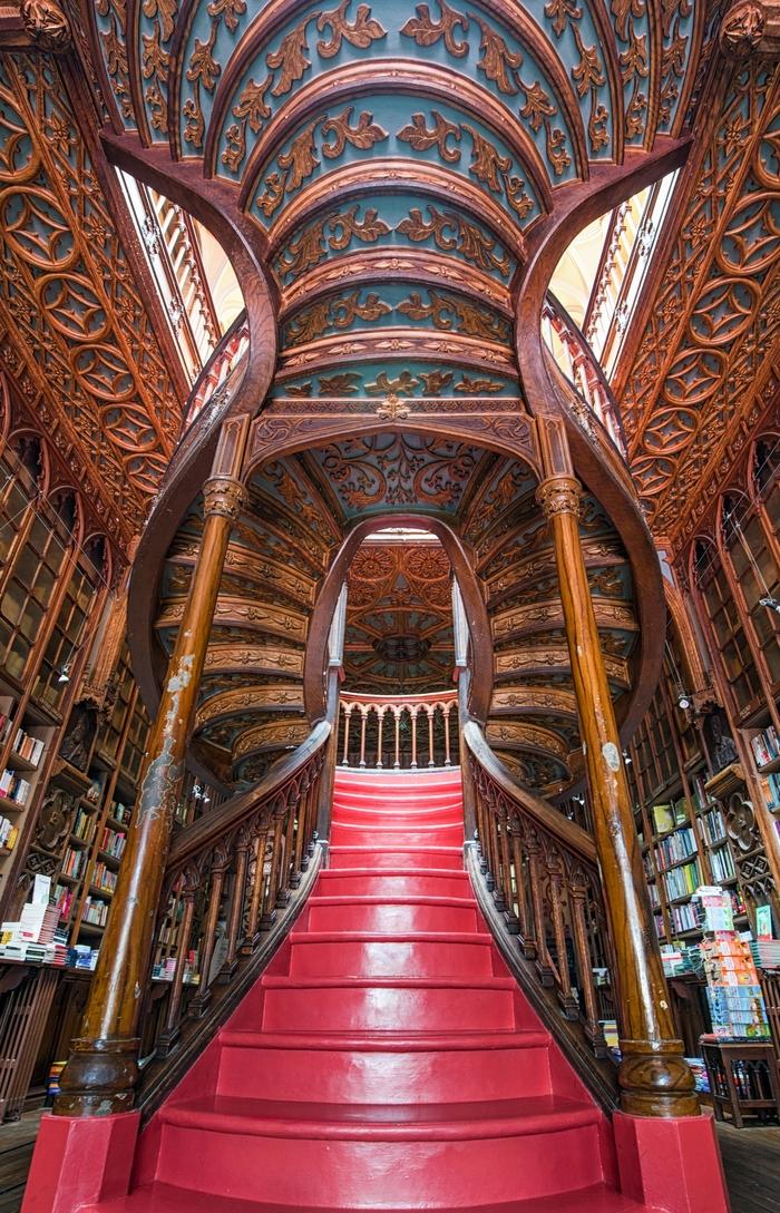 Хранилище знаний Библиотека, Порто, Португалия, Архитектура, Хогвартс, Лестница, Фотография