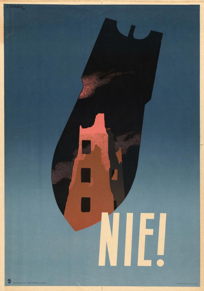 «Нет!». Польша, 1952 Польша, Польские плакаты, Ядерный взрыв, Ядерная война