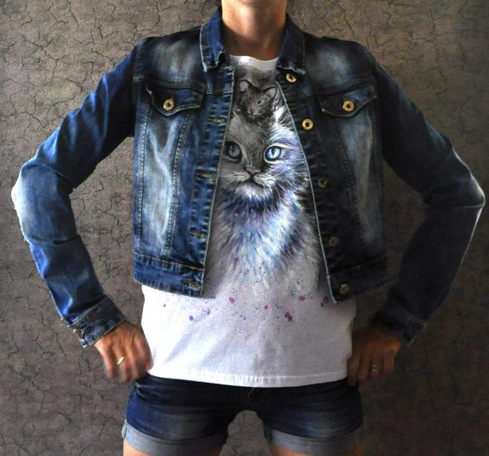 Кот и мышка Кот, Мышь, Роспись по ткани, Футболка, Одежда, Мода, Длиннопост