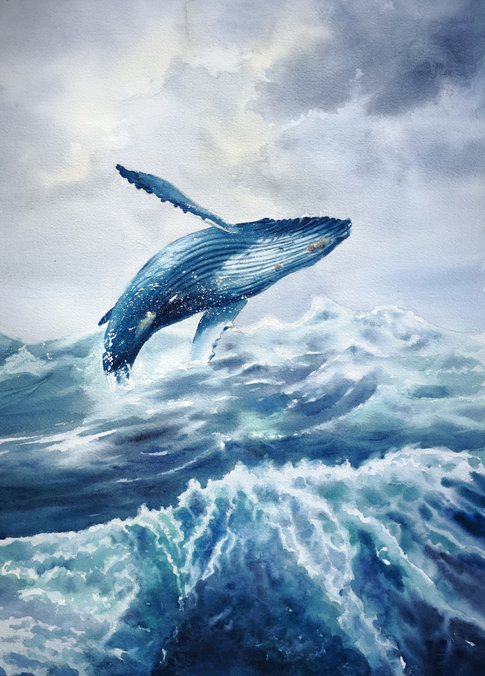 Синий кит. Акварель.