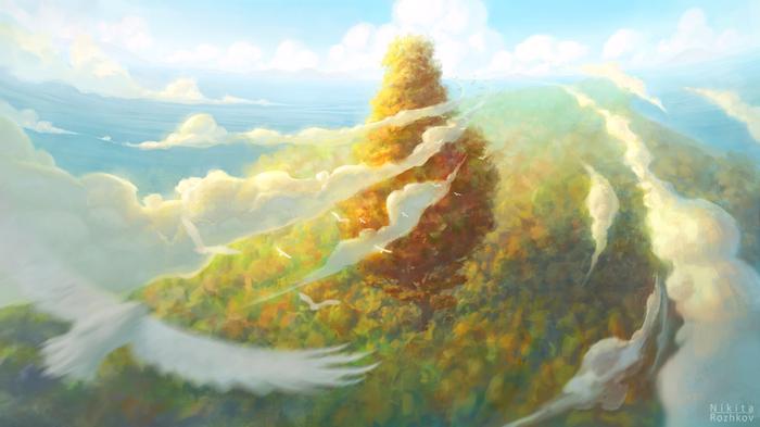 Дерево Дерево, Лес, Видео, Пейзаж, Облака, Рисунок, Цифровой рисунок, С высоты птичьего полета, Photoshop