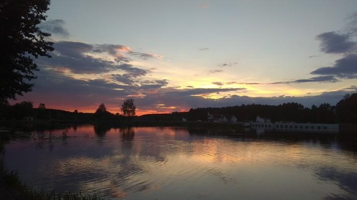 Вечернее небо Беларусь, Река, Вечер, Небо, Красота