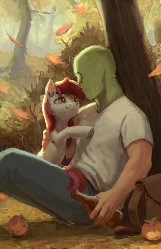 Пони (обнимается) My little pony, Ponyart, Roseluck, Anon, Человек, Анонимус