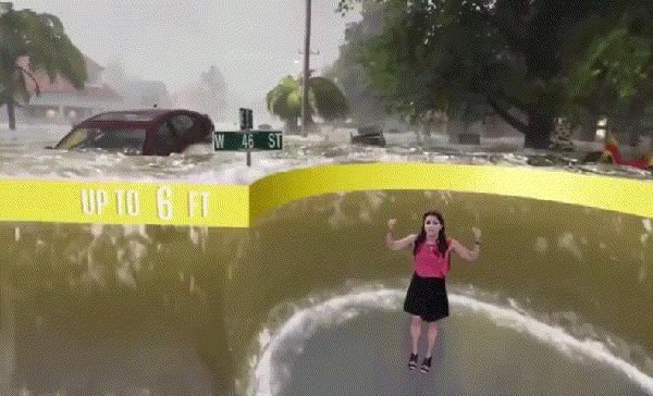 Потенциально возможный уровень воды при надвигающемся урагане «Флоренс» наглядно