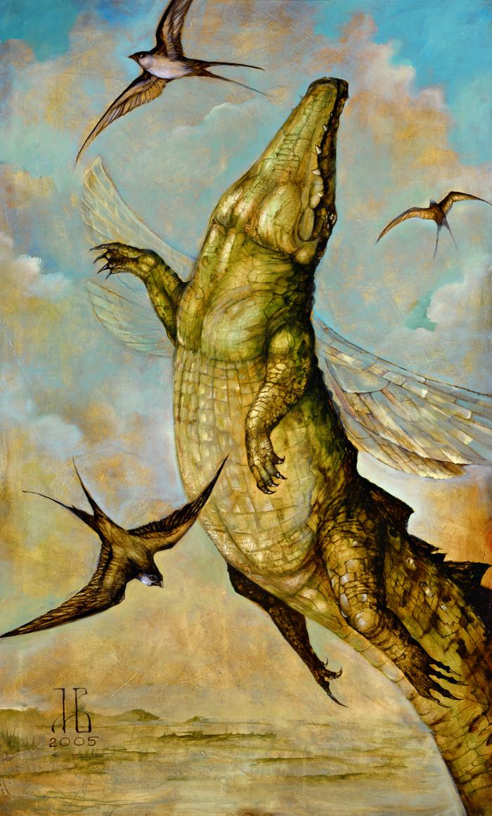 Крокодилы на холсте Крокодил, Арт, Картина, Картина маслом, Холст, Масло, Длиннопост