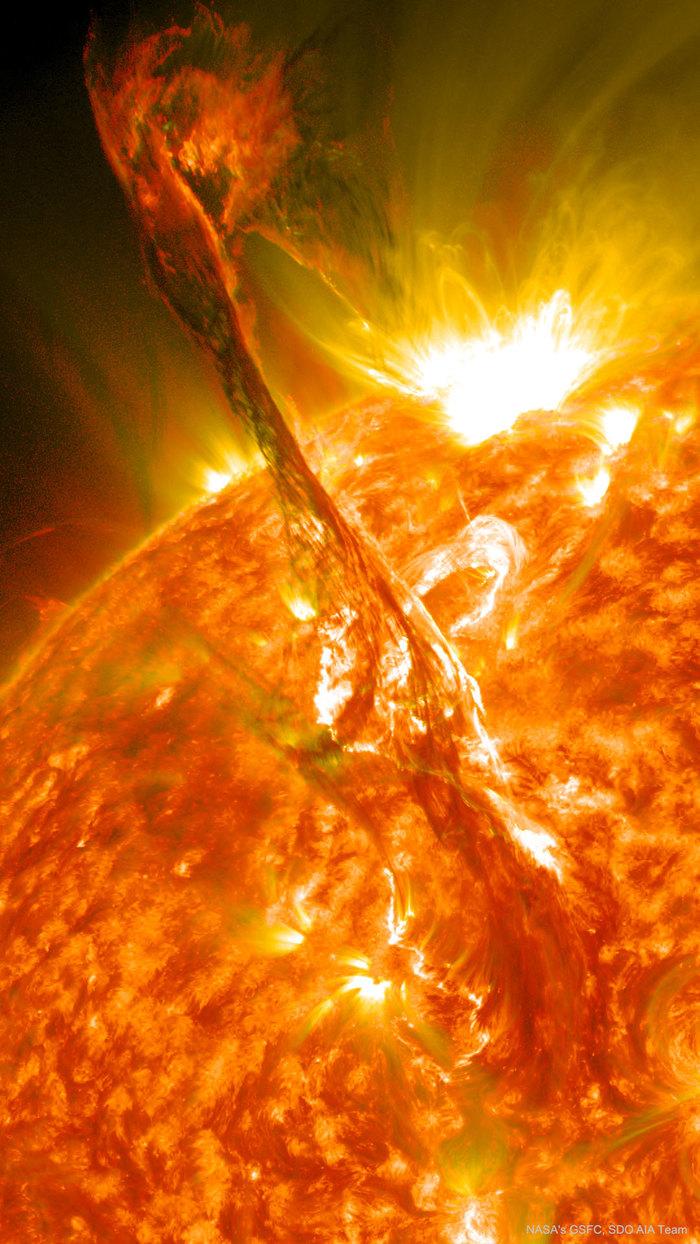 Геомагнитная буря на Солнце в 2012 Солнце, 2012, Геомагнитная буря, Протуберанцы, Звезда, Астрофото, Астрономия, Фотография