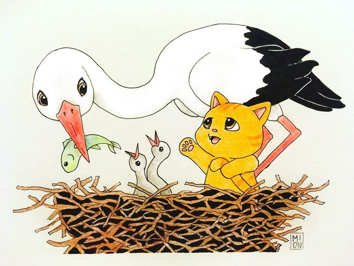 Гнездо аиста Mionart, Кот, Лучик, Рисунок, Рисунок карандашом, Аист, Гнездо
