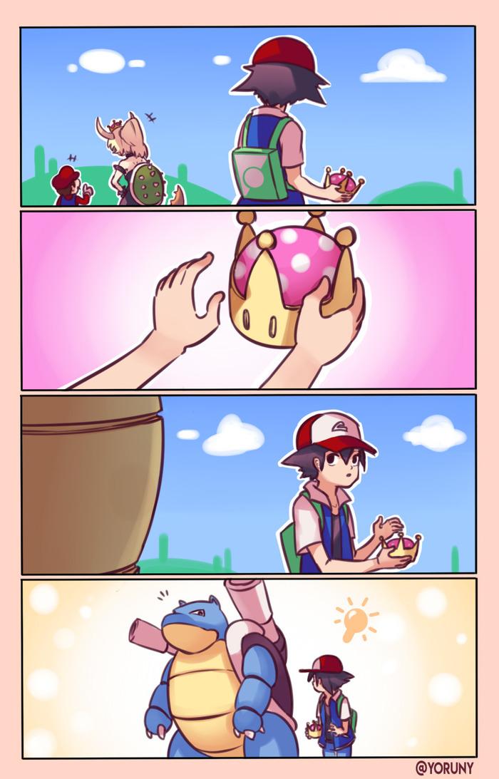 Riding the train! Yoruny, Марио, Bowsette, Покемоны, Blastoise, Pokemon GO, Комиксы
