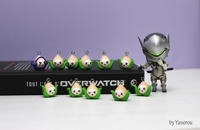 Маленький Пачиотряд Overwatch fanart, Overwatch, Pachimari, Genji, Dva, Полимерная глина, Ручная работа, Брелок, Длиннопост