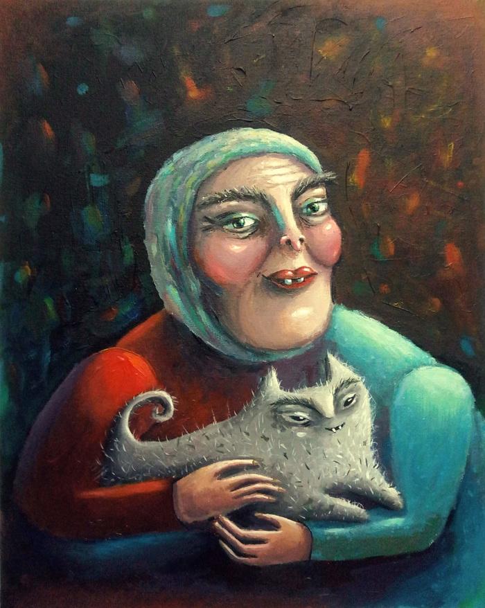 Бабушка с котостаем