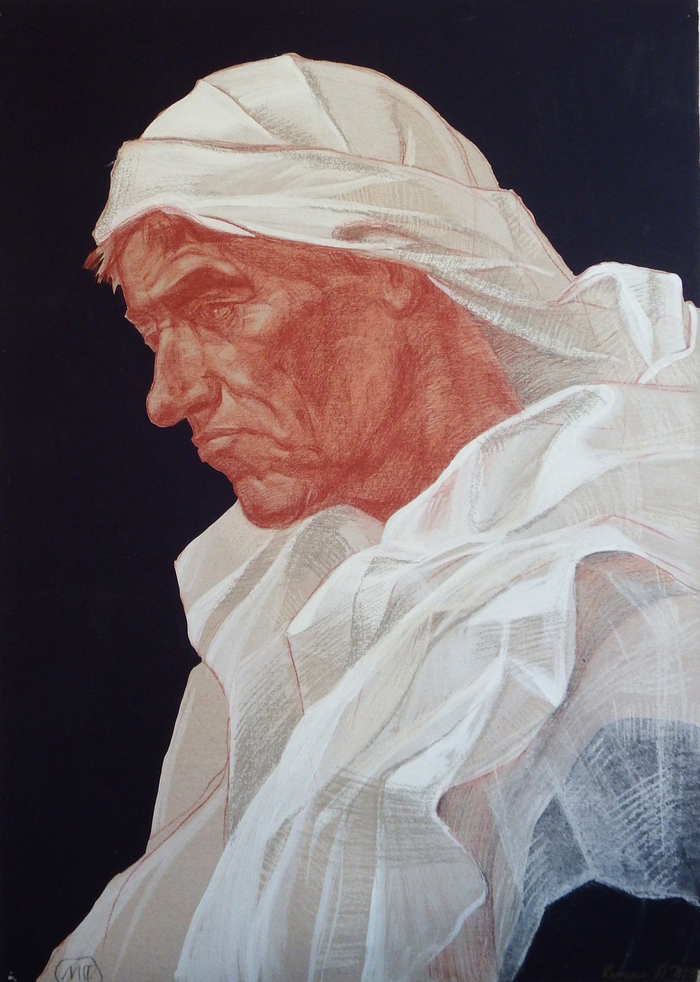 Путник Портрет, Мужчина, Рисунок, Мягкий материал, Смешанная техника