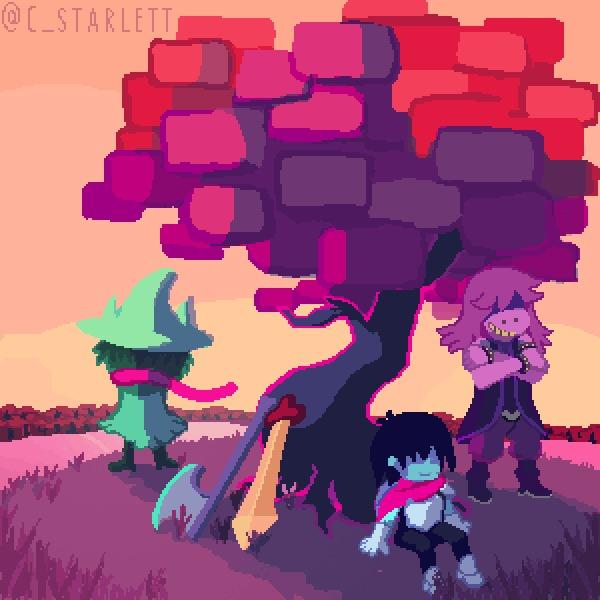 Три героя Starlett, Deltarune, Undertale, Pixel Art, Kriss, Ralsei, Susie, Арт, Гифка