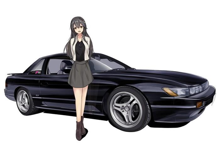 JDM cars and anime girls. Аниме, Anime Art, Арт, Kantai collection, Toyota Supra, Nissan S13 Silvia, Haruna, Murasame