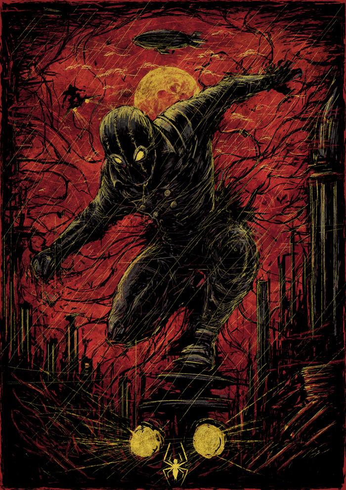 Нуар паук Spider-Man: Noir, Marvel, Постер, Длиннопост, Человек-Паук, Рисунок, Цифровой рисунок