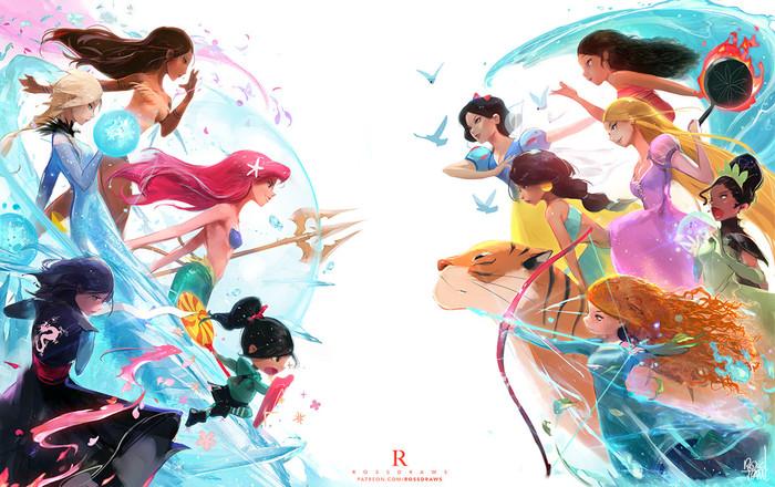 Война принцесс отRoss Tran Фан-Арт, Принцессы диснея, Цифровой рисунок, Арт, Видео, Длиннопост, Walt Disney Company