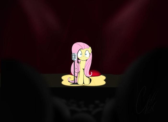 Боязнь сцены My Little Pony, Fluttershy, Микрофон, Сцена, Страх
