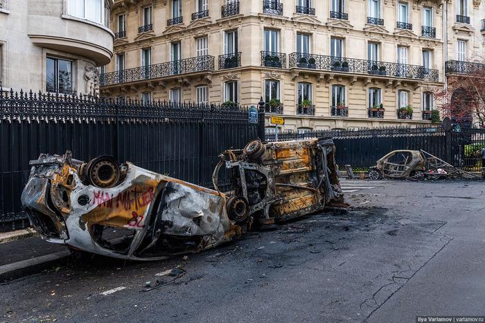 Париж: утро после погромов (фоторепортаж) Париж, Франция, Протест, Фоторепортаж, Погром, Длиннопост