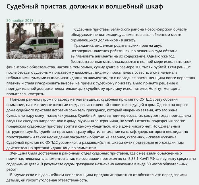 Отчет пресс-службы новосибирских судебных приставов о поимке должника. Отчет, Должник, Нарния