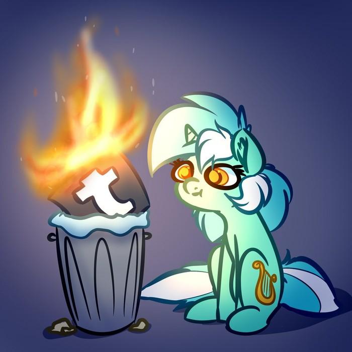 Горит. Хорошо горит. My Little Pony, Lyra Heartstrings, Tumblr, Witchtaunter