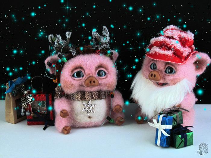Свиньи кругом, всюду свиньи... Длиннопост, Новый Год, Авторская игрушка, Рукоделие без процесса, Год свиньи, Кабан, Поросята, Свинья