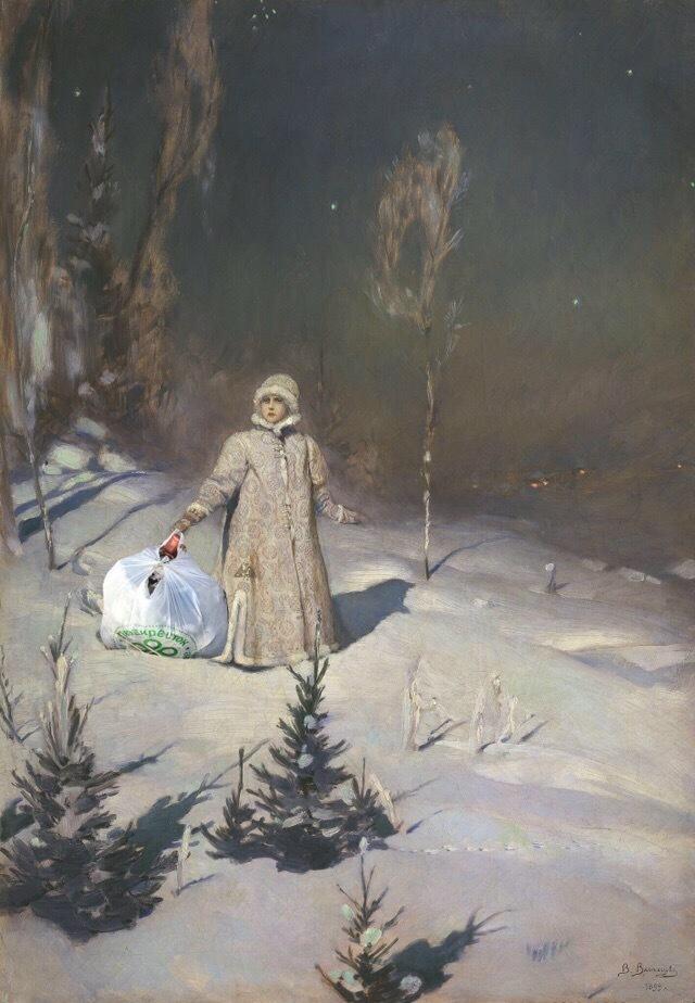 Дед Мороз и Снегурочка вытаскивают мусор из леса Лес, Дед Мороз, Снегурочка, Мусор