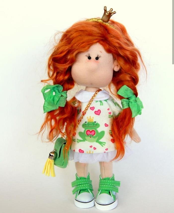 Царевна-лягушка Ручная работа, Кукла, Текстильная кукла, Рукоделие без процесса, Длиннопост