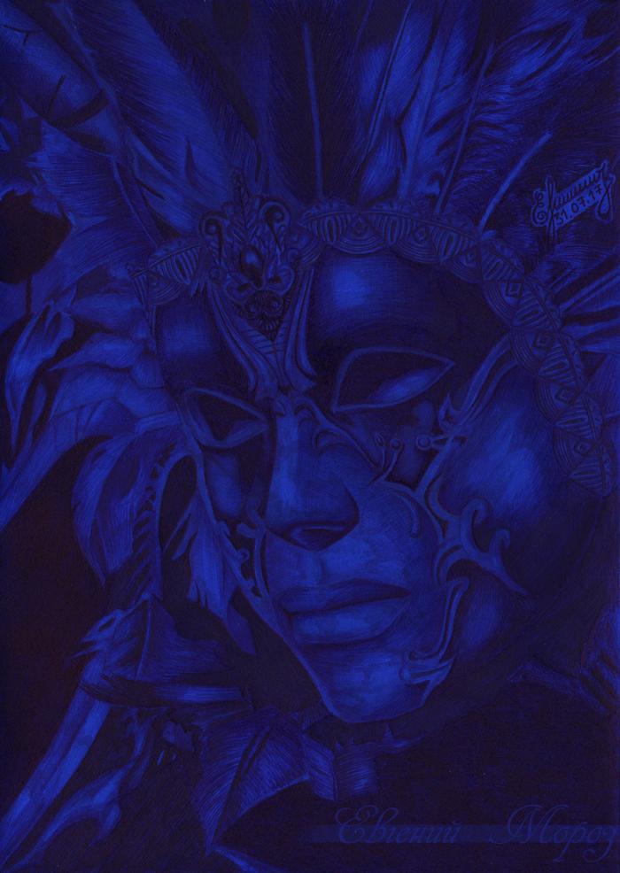Венецианская маска Рисунок, Маска, Шариковая ручка, Ручка, Маркер, Арт, Смешанная техника, Венецианская маска