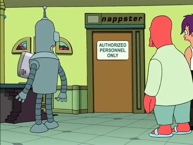 Не встречайтесь с роботами! (Футурама) Футурама, Пасхалка, Napster, Торрент трекер, Файлообменники, Авторские права