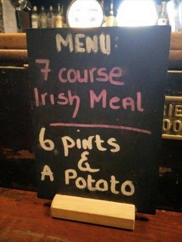 Ирландское меню. Прикол, Ирландия, Пиво, Меню